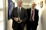 (AURORA., Colo., Nov. 28, 2005) (lt-rt) Terry Jones, deputy chief walks with Aurora's new police...