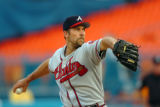 MDS104 - Atlanta Braves' John Smoltz pitches against the Florida Marlins during the first inning...
