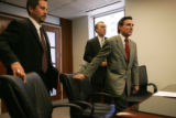 (from left) Plaintiff Manolo Gonzalez-Estay, CQ, attorney for Keep Colorado Safe Mark Grueskin,...