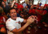 Czech Republic fan Zdenek Eispigl (cq), left, cheers as the U.S. faces off against the Czech...