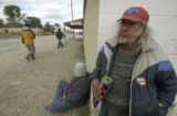 NELIN901 - ** FILE ** John Red Shirt, right, poses outside a Whiteclay, Neb., store, along with...