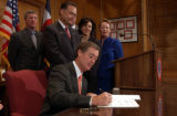 (Denver, Colo., April 19, 2004)  Gov. Bill Owens signs HB 1147 for a new environmental process to...