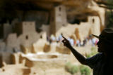 Park Ranger Amanda Kuhnel (cq), 23, points out some of the features of the Cliff Palace dwelling...