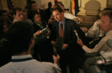 Colorado speaker of the house Andrew Romanoff speaks with the media to give the Democrat's view of...