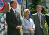 From left, Governor Bill Owens, first lady Frances Owens, and Denver Mayor John Hickenlooper have...