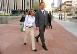 [Denver, CO - Shot on: 4/16/04]  Quest executive Bryan Tredway(left) and wife Diana Tredway leave...