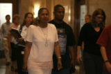Family members (not identifiable)  of Contrell Townsend  leave a  Denver courtroom  Wednesday June...