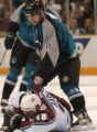 (San Jose, Calif., April 24, 2004)  San Jose Sharks' #16, Mark Smith, grins as he looks down at...