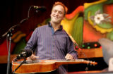 Anders Beck does some pick'n and grin'n on a dobro, as the Wayward Sons - a band from Durango-...