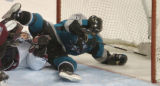 (San Jose, Calif., April 24, 2004)  San Jose Sharks' #17, Scott Thornton, right, tumbles over...