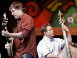 Bela Fleck plays the banjo and Edgar Meyer plays bass as a members of the Bluegrass Festival ...