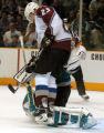 (San Jose, Calif., April 24, 2004)  Colorado Avalanche #23, Milan Hejduk trys to hope out of the...