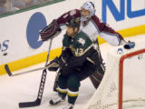 (DALLAS, TX., APRIL 14, 2004)  FILE GAME 4 AVS-STARS:Colorado Avalanche's goalie, #1, David...
