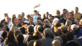 (DENVER, Colo., Shot on 4/20/04) -- One of 13 doves is released in honor the victims of the...
