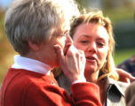 (DENVER, Colo., Shot on 4/20/04) -- An unidentified woman reacts with friends with at a...