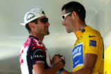 TDF108 - Overall leader George Hincapie of the US, right, greets compatriot Bobby Julich as they...