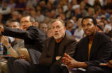 Sacramento Kings Assistant Coach Elston Turner (rt) and John Wetzl (left) sit on each side of head...