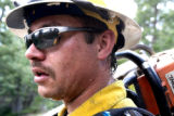 Shawn Wipperert (cq) a sawyer with the Chief Mountain  Hotshot crew from Browning, Montana ,...
