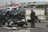 Denver police work an accident at Alameda and I-25 Thursday afternoon June 22, 2006 in Denver....