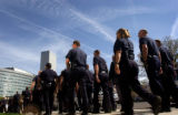 04/19/2004 Denver-Denver Police Officers march to the City and County Building for a rally on the...