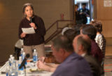 (Westminster, CO, Shot On 4/14/04--) Carmen Atilano, a member of a no Wal-Mart group, speaks...