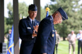 Gen. Kevin P. Chilton applauds Gen. T. Michael Moseley, the Air Force Chief of Staff, after...