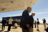 04/14/2004 Tucson, Arizona-Doolittle Raider Chase Nielsen, center, followed by a case carrying...
