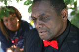 Khalid Abdul Muhammad (cq) ,father of Michael Ford , outside his Montbello home on Tuesday June...