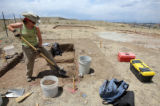Kim Dugan (cq) of Centennial Archaeology excavates Native American artifacts in Douglas County...