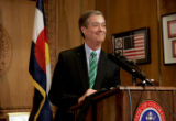 Colorado Governor Bill Owens holds a press conference in his office Wednesday afternoon June 28,...
