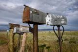 A cluster of mailboxes signal individual properties near the Rusk(cq) Ranch in Westcliffe...