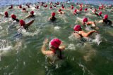 The 25th and final heat of the 2006 Danskin Women's Triathlon takes to the water for the first leg...