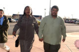 Shely Lowe and Aaron Thompson enter Arapahoe County Court in Centennial on Wednesday January...