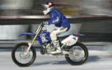 Nate Adams tests the course at the Moto X Best Trick practice at the ESPN Winter X Games  Friday...