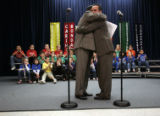 (Denver, Colorado, 1/27/2006) About 550 students at South Elementary School in Brighton watched as...
