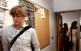 Boulder High School junior Luke Rothschild (cq), 16, leans against a wall between classes...