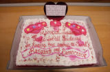 A cake gifted to the Democratic Party by the Republican Party as a political statement that read,...