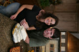 Lisa and Ed McCaffrey in their kitchen in Castle Pines for a story about Lisa's recipes for an...