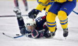 U.S. Women's Hockey Team member Natalie Darwitz (#22, F) gets tripped up while going after a loose...