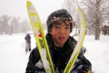 Evan Barbier (cq), 7, a first grader at Soda Spings Elementary in Steamboat Springs, Colo., heads...