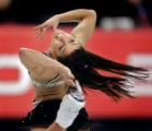 Crowd favorite Silvia Fontana of Italy lets her hair fly as she spins in a circle during the Short...