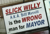 Longtime adversaries, the previous mayor of Clark, Texas, L.E. Clark, had this political sign made...