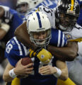 1/15/2006  INDIANAPOLIS : Pittsburgh Steelers linebacker Joey Porter sacks Colts quarterback...