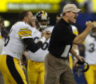 1/15/2006  INDIANAPOLIS : Pittsburgh Steelers head coach Bill Cowher cheers on the defense against...