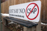A Just Say No to CSAP bus bench ad on South Sable and Arkansas Avenue on Thursday January 19,2006....