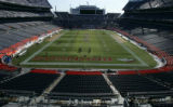 The field is uncovered and ready for the game.  At Invesco Field, in Denver, Colo. on 1/20/06, ...