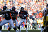 269 Denver QB #16 Jake Plummer looks for a receiver in the third quarter against Pittsburgh at...