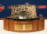 Lamar Hunt Trophy at the Broncos press conference for the upcoming AFC Championship Playoff Game...