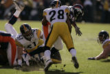 387 Broncos #38 Mike Anderson struggles to gain yards against Steelers #28 Chris Hope at Invesco...