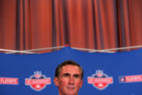 Broncos Head Coach Mike Shanahan talks to the media during a press conference for the upcoming AFC...